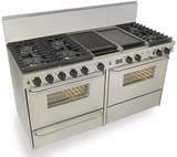 """TTN637-7BW Five Star 60"""" Pro Style Dual-Fuel Range Convection Oven with Sealed Burners - Natural Gas - Stainless Steel"""