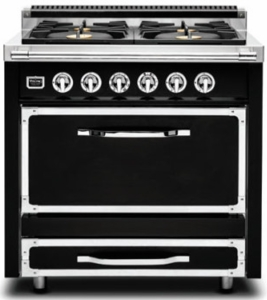 TVDR3602GGB Viking Tuscany 36 Inch Pro-Style Dual Fuel Range with 2 20,000 BTU Burners 3.4 cu. ft. Convection Oven and Electric Griddle - Natural Gas - Graphite Black