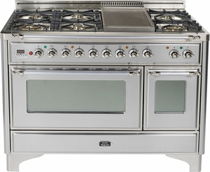 "UM120FDMPIX Ilve 48"" 6 Burner Dual Fuel Range with Griddle - Chrome Trim - Natural Gas - Stainless Steel"
