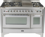 "UM120S5DMPIX Ilve 48"" 5 Burner Dual Fuel Range with Coup de Feu - Chrome Trim - Natural Gas - Stainless Steel"