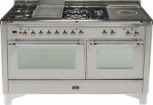 "UM150FSDMPIX Ilve 60"" 8 Burner Dual Fuel Range with Griddle and Coup de Feu - Chrome Trim - Natural Gas - Stainless Steel"