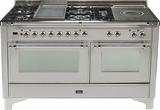 "UM150FSDMPIX Ilve 60"" 5 Burner Dual Fuel Range with Griddle and Coup de Feu - Chrome Trim - Natural Gas - Stainless Steel"