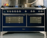 "UM150SDMPI Ilve 60"" 6 Burner Dual Fuel Range with Coup de Feu - Chrome Trim - Natural Gas - Stainless Steel"