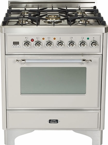 "UM76DMPIX Ilve Majestic 30"" 5 Burner Dual Fuel Range - Chrome Trim - Natural Gas - Stainless Steel"