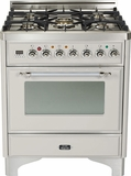 "UM76DMPIX Ilve 30"" 5 Burner Dual Fuel Range - Chrome Trim - Natural Gas - Stainless Steel"