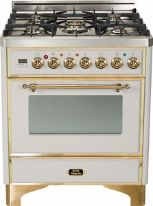 """UM-76-DVGG-IX Ilve Majestic Collection 30"""" Gas Range with Full Width Warming Drawer and Multi-Function European Convection Oven - Natural Gas - Stainless Steel"""