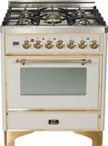 "UM-76-DVGG-IX Ilve Majestic Collection 30"" Gas Range with Full Width Warming Drawer and Multi-Function European Convection Oven - Natural Gas - Stainless Steel"