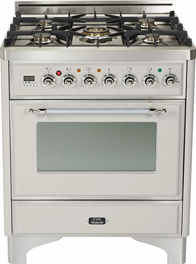 """UM76DVGGIX Ilve Majestic Collection 30"""" Gas Range with Full Width Warming Drawer and Multi-Function European Convection Oven - Natural Gas - Stainless Steel"""