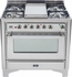 "UM906DMPIX Ilve Majestic 36"" 6 Burner Dual Fuel Range - Chrome Trim - Natural Gas - Stainless Steel"