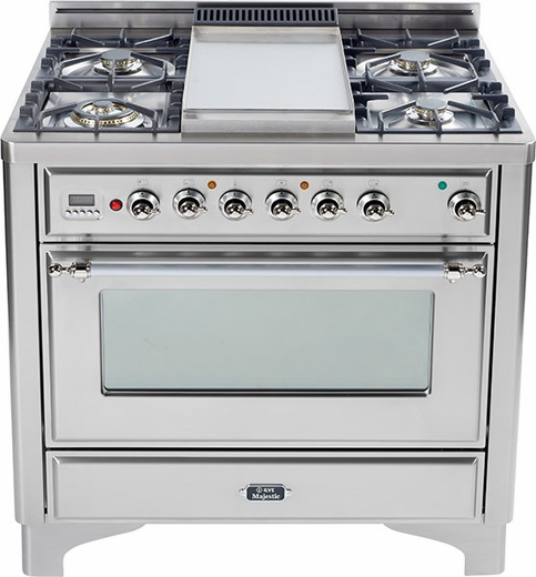 "UM906DVGGIX Ilve Majestic 36"" Gas Range with Full Width Warming Drawer and Multi-Function European Convection Oven - 6 Burners - Stainless Steel"
