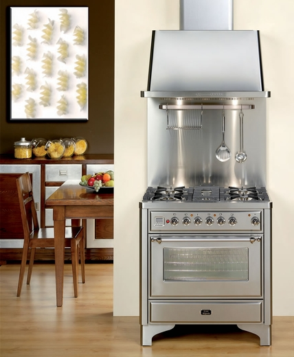 "UM906DVGGIX Ilve Majestic Collection 36"" Gas Range with Full Width Warming Drawer and Multi-Function European Convection Oven - 6 Burners - Stainless Steel"