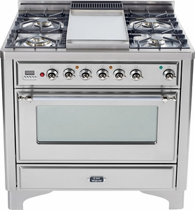 "UM90FDVGGIX Ilve Majestic 36"" Gas Range with Full Width Warming Drawer and Multi-Function European Convection Oven - 5 Burners + Griddle + Rotisserie - Stainless Steel"