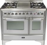 "UMD100FDMPIX Ilve 40"" 4 Burner Dual Fuel Range with Griddle - Natural Gas - Chrome Trim - Stainless Steel"