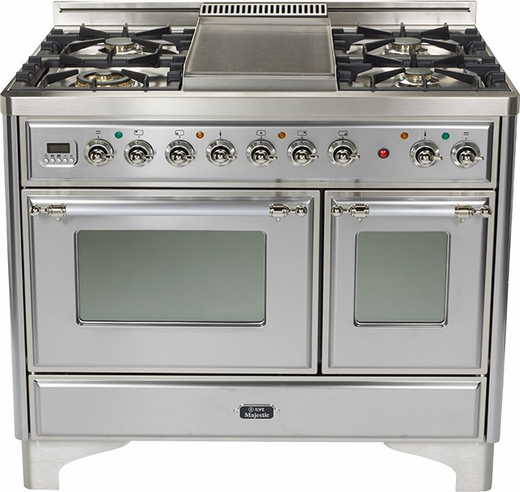 "UMD100SDMPIX Ilve Majestic 40"" 4 Burner Dual Fuel Range with Coup de Feu - Chrome Trim - Natural Gas - Stainless Steel"