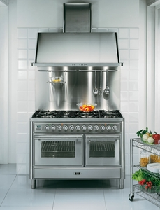 """UMT120FDMPI Ilve Majestic Techno Collection 48"""" Dual Fuel Range with Full Width Warming Drawer and Multi-Function European Convection Oven - Stainless Steel"""