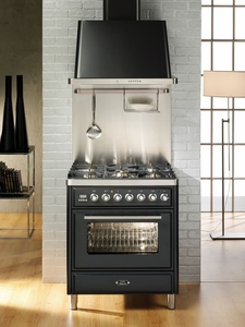 "UMT76DVGGI Ilve Majestic Techno Collection 30"" Gas Range with Full Width Warming Drawer and Multi-Function European Convection Oven - Natural Gas - Stainless Steel"