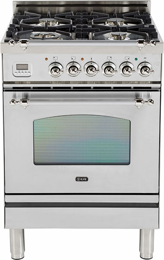 "UPN60DVGGIX Ilve Nostalgie Collection 24"" Gas Range with Full Width Warming Drawer  Natural Gas  Stainless Steel"