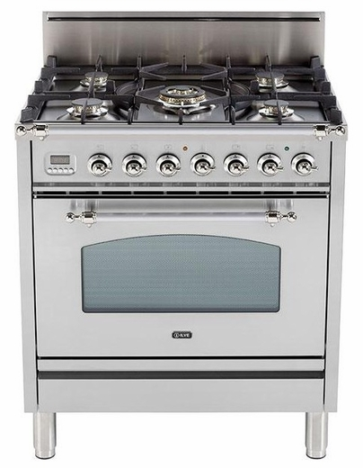 "UPN76DVGGIX Ilve Nostalgie Collection 30"" Gas Range with Full Width Warming Drawer  Natural Gas  Stainless Steel"