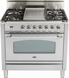 "UPN90FDVGGIX Ilve Nostalgie Collection 36"" Gas Range with Full Width Warming Drawer  Natural Gas  Stainless Steel"