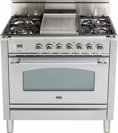 """UPN90FDVGGIX Ilve Nostalgie Collection 36"""" Gas Range with Full Width Warming Drawer  Natural Gas  Stainless Steel"""