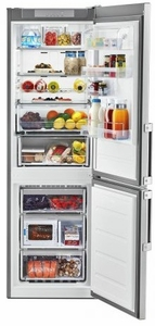 """URB551WNGZ Whirlpool 24"""" 11.3 cu. ft. Bottom-Freezer Refrigerator with Cabinet Edge Electronic Controls and Frame Glass Shelves  - Fingerprint Resistant Stainless Steel"""