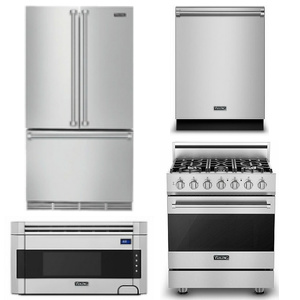 Package V1 - Viking Appliance Package - 4 Piece Luxury Appliance Package with Gas Range - Stainless Steel