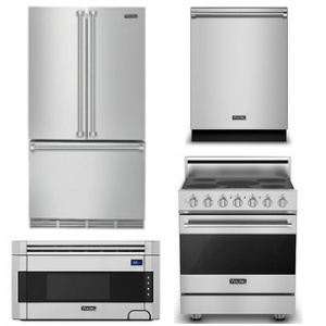 Package V3  - Viking Appliance Package - 4 Piece Luxury Appliance Package with Electric Range - Stainless Steel
