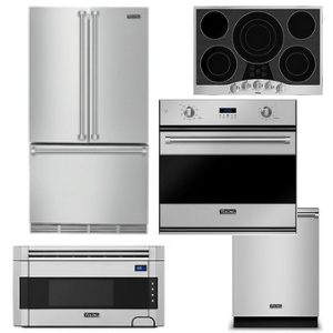 Package V4 - Viking Appliance Package - 5 Piece Luxury Built In Appliance Package with Electric Cooktop - Stainless Steel