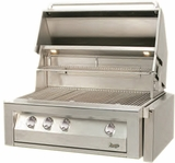 "VBQ36SZG Vintage 36"" Gold Built-in Grill with Sear Zone - Natural Gas - Stainless Steel"