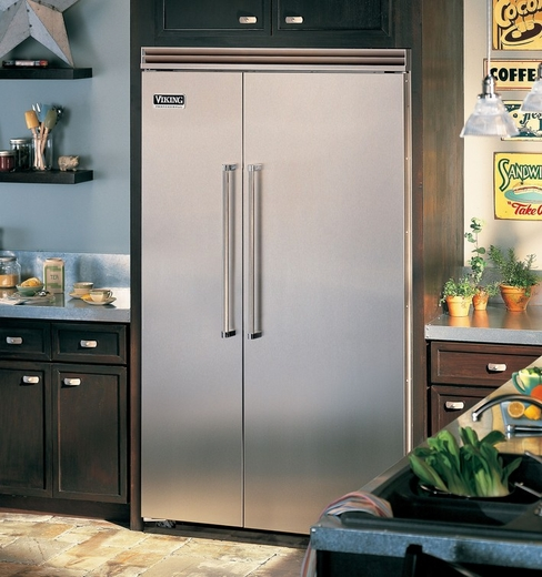 "VCSB5483SS Viking 48"" Professional 5 Series Side by Side Built-in Refrigerator with Quiet Cool - Stainless Steel - Clearance Model - Surface Scratches Side Panel"