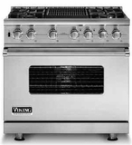 "VDSC5364GSS Viking 36"" Sealed Burner Dual Fuel Range with 4 Burners and Griddle -  Natural Gas - Stainless Steel"