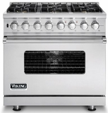"VDSC5366BSS Viking 36"" Sealed Burner Dual Fuel Range with 6 Burners -  Natural Gas - Stainless Steel"