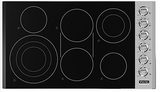 "VEC5366BSB Viking 36"" Electric Radiant Cooktop with Quickcook & Bridge Element - Black & Stainless Steel"