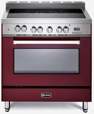 "VEFSEE365BU Verona 36"" Electric Single Oven Range with Black Ceramic Glass Cooktop - Burgundy"