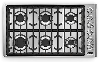 "VGC5366BSSLP Viking 36"" LP Gas Cooktop with Sealed Burners  Stainless Steel"