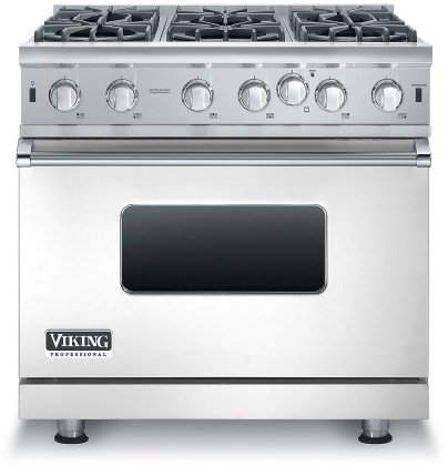 "VGIC53616BSS Viking Professional 5 Series 36"" Gas Range with VariSimmer Setting and 6 Open Burners - Natural Gas - Stainless Steel"