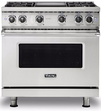 "VGR5366BSS Viking 36"" Professional 5 Series Freestanding 6 Sealed Burner Gas Range with TruPower Plus and SureSpark  - Stainless Steel"