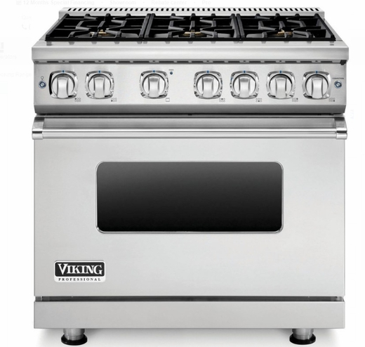 "VGR73616BSS 36"" Viking Professional 7 Series Gas Range with 6 Sealed Burners and VariSimmer Setting - Stainless Steel"