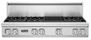 "VGRT7486GSS Viking Professional 7 Series 48"" Gas Rangetop - 6 Burners with Griddle -  Natural Gas - Stainless Steel"