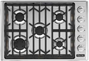 """VGSU53015BSSLP Viking 30"""" Professional 5 Series Liquid Propane Gas Cooktop with 5 Burners and SureSpark Ignition System - Stainless Steel"""