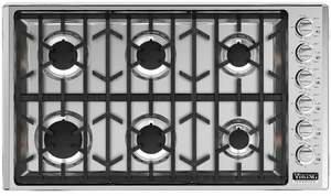 """VGSU5366BSSLP Viking Professional 5 Series 36"""" Gas Cooktop with 6 Burners - LP Gas - Stainless Steel"""