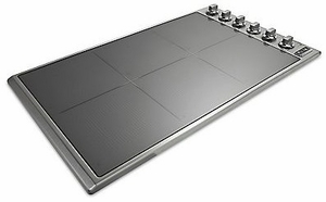 "VICU53616BST Viking 36"" Professional 5 Series Electric Radiant 6 Element Cooktop with MagnaQuick & Power Management Sytem - Stainless Steel with TransMetallic Glass"