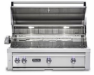 """VQGI5360LSS Viking Professional 5 Series 36"""" Liquid Propane Built-In Grill with ProSear Burner and Rotisserie - Stainless Steel"""