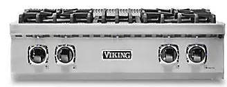 "VRT5304BSS Viking 30"" Natural Gas Sealed 4 Burner Rangetop with  SureSpark Ignition System and SoftLit LED Lights - Stainless Steel"