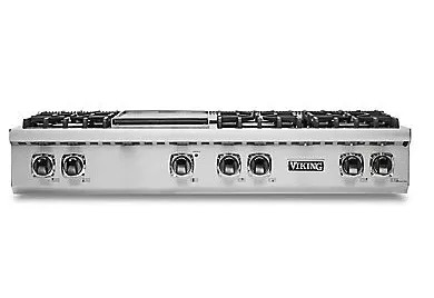 "VRT5486GSSLP Viking 48"" Liquid Propane Gas Sealed 6 Burner Rangetop with Griddle and SureSpark Ignition System - Stainless Steel"