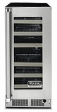 """VWUI5150GLSS 15"""" Viking Professional 5 Series Clear Undercounter Glass Wine Cellar with Digital Control and LED Lighting - Left Hinge - Stainless Steel"""