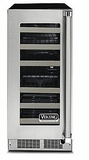 "VWUI5150GLSS 15"" Viking Professional 5 Series Clear Undercounter Glass Wine Cellar with Digital Control and LED Lighting - Left Hinge - Stainless Steel"