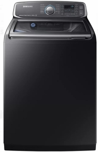 "WA52M7750AV Samsung 27"" 5.2-cu ft High-Efficiency Top-Load Washer with Activewash and VRT Plus Technology - Black Stainless Steel"
