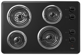 """WCC31430AB Whirlpool 30"""" Electric Cooktop with Dishwasher-Safe Knobs - Black"""