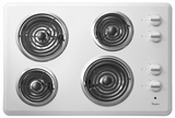 """WCC31430AW Whirlpool 30"""" Electric Cooktop with Dishwasher-Safe Knobs - White"""